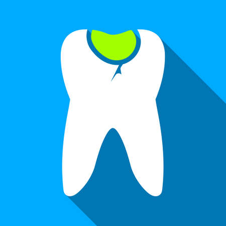 carious: Tooth Caries long shadow vector icon. Style is a flat light symbol with rounded angles on a blue square background. Illustration