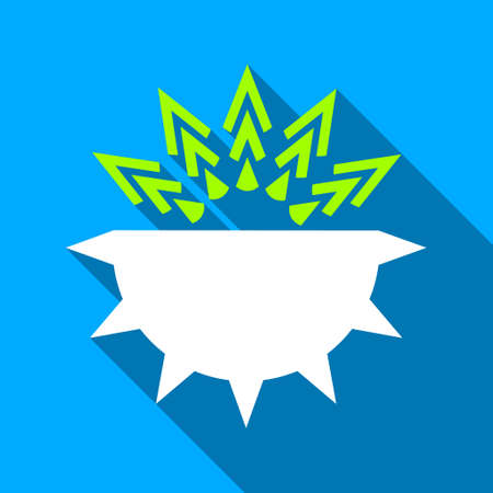 viral infection: Viral Structure long shadow vector icon. Style is a flat light symbol with rounded angles on a blue square background.