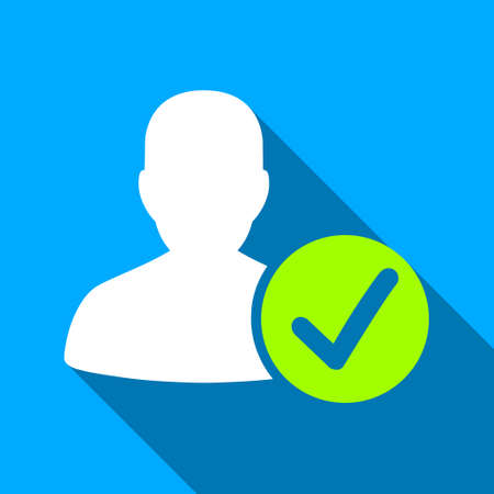 valid: Valid Patient long shadow vector icon. Style is a flat light symbol with rounded angles on a blue square background.