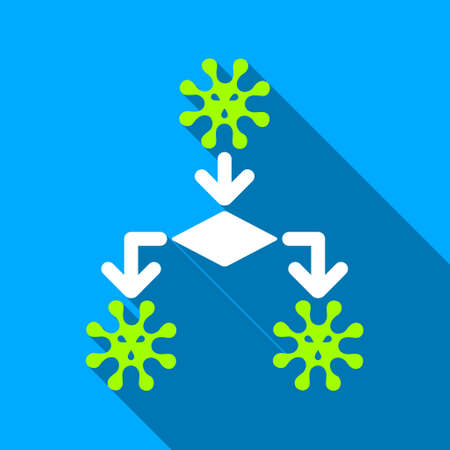 reproduction: Virus Reproduction long shadow vector icon. Style is a flat light symbol with rounded angles on a blue square background. Illustration