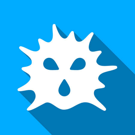 ameba: Virus Structure long shadow vector icon. Style is a flat light symbol with rounded angles on a blue square background.
