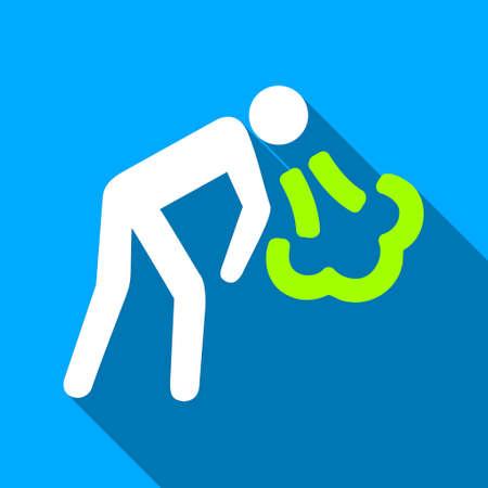 the vomiting: Vómitos Persona de icono de vector larga sombra. El estilo es un símbolo de luz plana con ángulos redondeados en un fondo cuadrado azul.