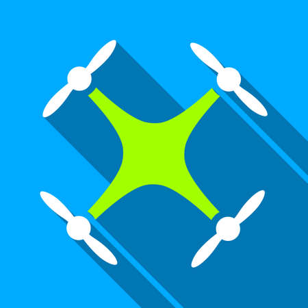 airflight: Airdrone long shadow raster icon. Style is a flat light symbol with rounded angles on a blue square background. Stock Photo