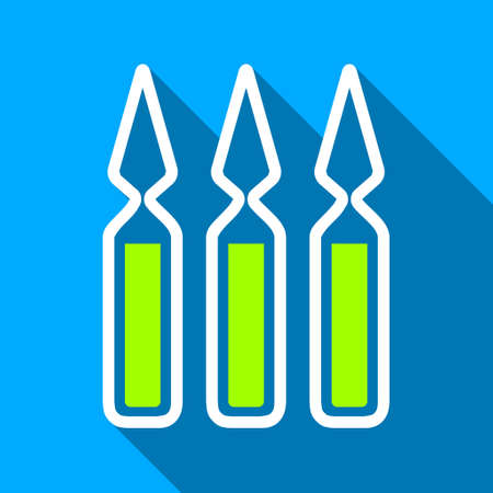 a substance vial: Ampoules long shadow raster icon. Style is a flat light symbol with rounded angles on a blue square background.