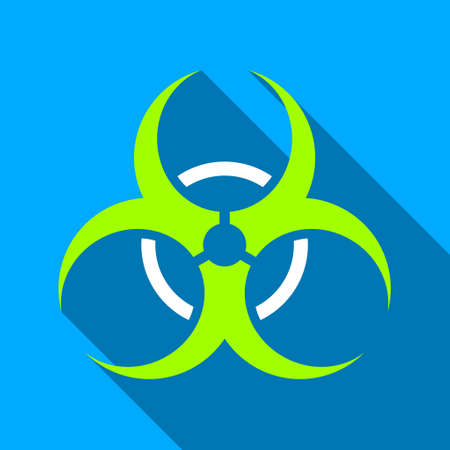 bio hazard: Bio Hazard long shadow raster icon. Style is a flat light symbol with rounded angles on a blue square background.