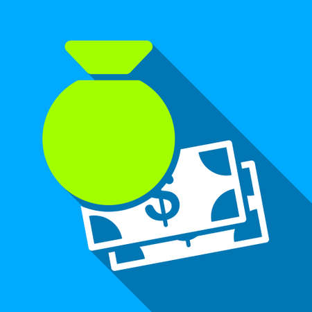 banknotes: Capital Bag And Banknotes long shadow raster icon. Style is a flat light symbol with rounded angles on a blue square background. Stock Photo
