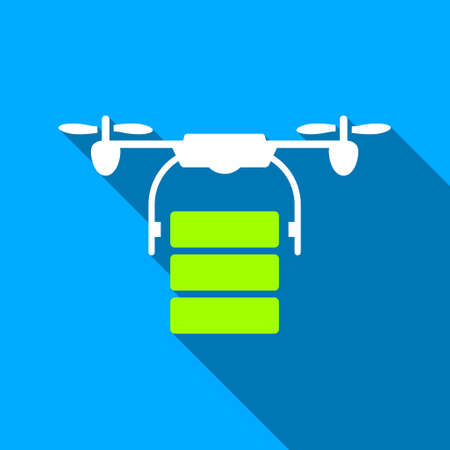 airflight: Cargo Drone long shadow raster icon. Style is a flat light symbol with rounded angles on a blue square background. Stock Photo