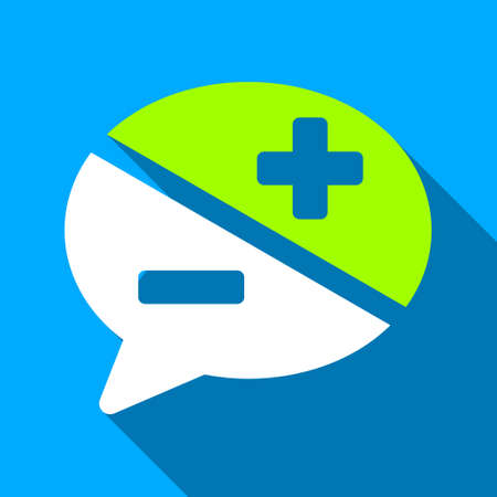 arguments: Chat Arguments long shadow raster icon. Style is a flat light symbol with rounded angles on a blue square background.