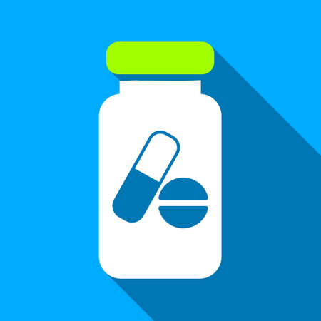 phial: Drugs Phial long shadow raster icon. Style is a flat light symbol with rounded angles on a blue square background.