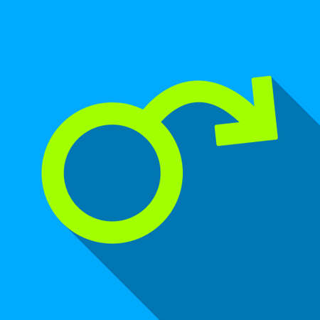 raster sex: Erectile Impotence long shadow raster icon. Style is a flat light symbol with rounded angles on a blue square background.
