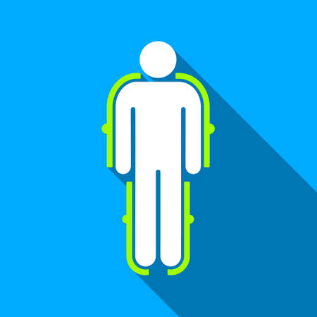 exoskeleton: Exoskeleton long shadow raster icon. Style is a flat light symbol with rounded angles on a blue square background.
