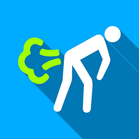 diarrhoea: Fart Person long shadow raster icon. Style is a flat light symbol with rounded angles on a blue square background.