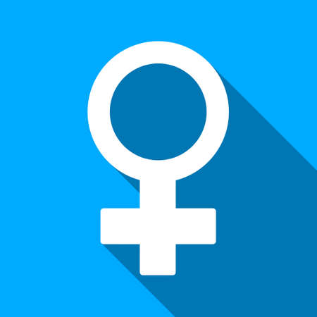 raster sex: Female Symbol long shadow raster icon. Style is a flat light symbol with rounded angles on a blue square background.