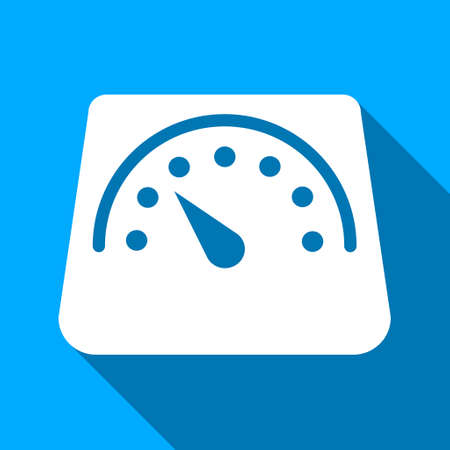 tonnage: Floor Weight Meter long shadow raster icon. Style is a flat light symbol with rounded angles on a blue square background.
