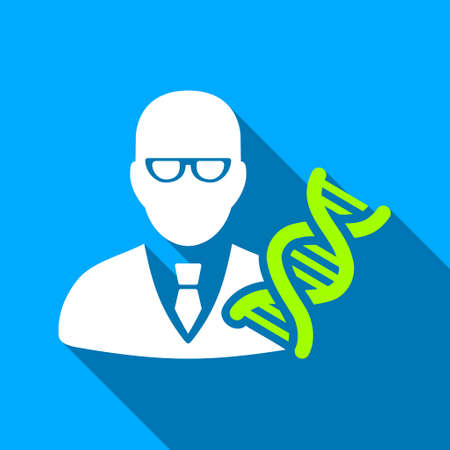 genom: Genetic Engineer long shadow raster icon. Style is a flat light symbol with rounded angles on a blue square background. Stock Photo