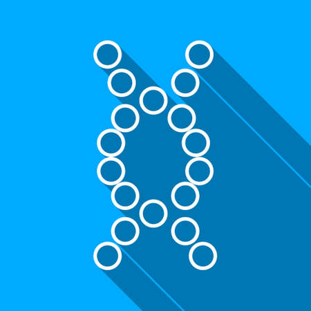 genom: Genome long shadow raster icon. Style is a flat light symbol with rounded angles on a blue square background.