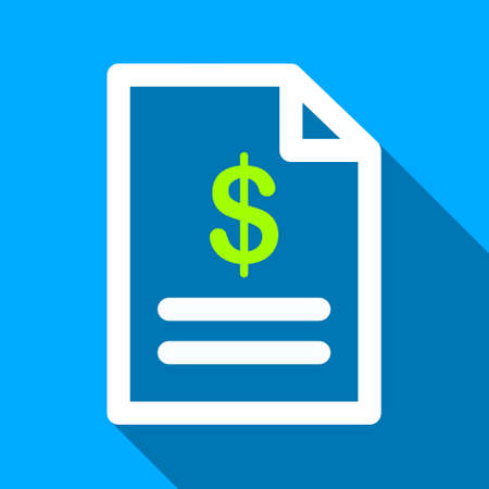 indent: Invoice Page long shadow raster icon. Style is a flat light symbol with rounded angles on a blue square background.