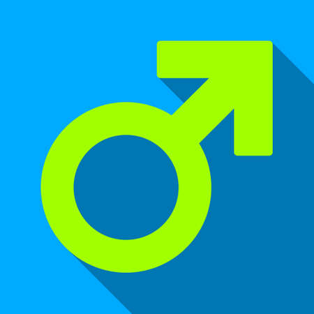 raster sex: Male Symbol long shadow raster icon. Style is a flat light symbol with rounded angles on a blue square background.