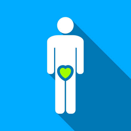 raster sex: Male Love long shadow raster icon. Style is a flat light symbol with rounded angles on a blue square background.