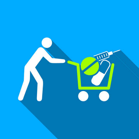 emergency cart: Medical Shopping Cart long shadow raster icon. Style is a flat light symbol with rounded angles on a blue square background.