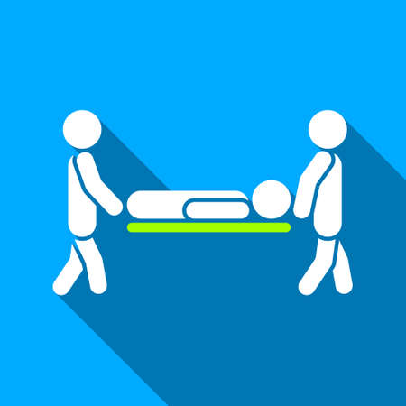 paciente en camilla: Los hombres llevan Camilla de icono de trama larga sombra. El estilo es un símbolo de luz plana con ángulos redondeados en un fondo cuadrado azul.