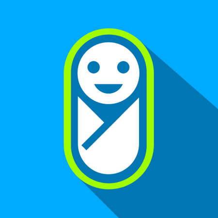 nipple man: Newborn long shadow raster icon. Style is a flat light symbol with rounded angles on a blue square background.