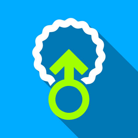 raster sex: Ovum Penetration long shadow raster icon. Style is a flat light symbol with rounded angles on a blue square background.