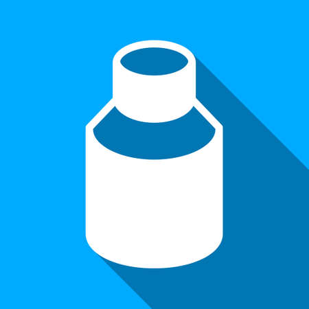 phial: Phial long shadow raster icon. Style is a flat light symbol with rounded angles on a blue square background.