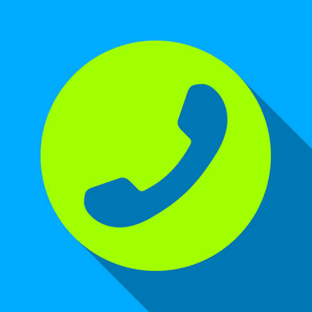 phone number: Phone Number long shadow raster icon. Style is a flat light symbol with rounded angles on a blue square background.