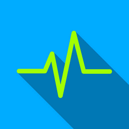 cardiograph: Pulse long shadow raster icon. Style is a flat light symbol with rounded angles on a blue square background. Stock Photo