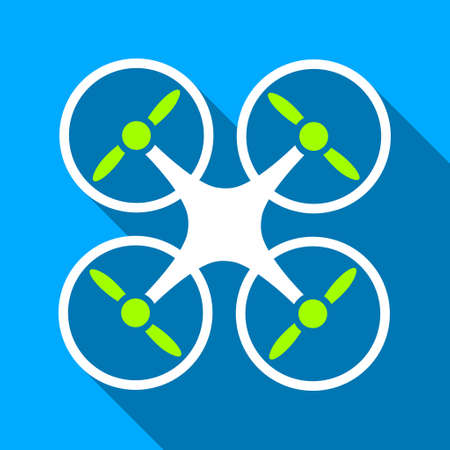 airflight: Quadcopter long shadow raster icon. Style is a flat light symbol with rounded angles on a blue square background.