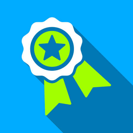 quality icon: Quality Star Ribbon Seal long shadow raster icon. Style is a flat light symbol with rounded angles on a blue square background.