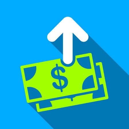 banknotes: Send Banknotes long shadow raster icon. Style is a flat light symbol with rounded angles on a blue square background.
