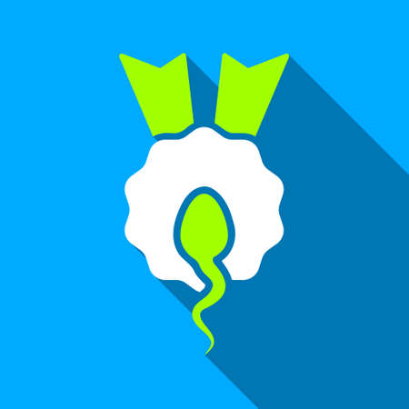 spermatozoon: Sperm Winner Award long shadow raster icon. Style is a flat light symbol with rounded angles on a blue square background.