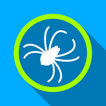 web crawler: Spider long shadow raster icon. Style is a flat light symbol with rounded angles on a blue square background. Stock Photo
