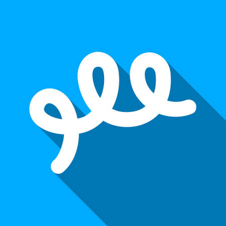 bacillus: Spiral Bacillus long shadow raster icon. Style is a flat light symbol with rounded angles on a blue square background.
