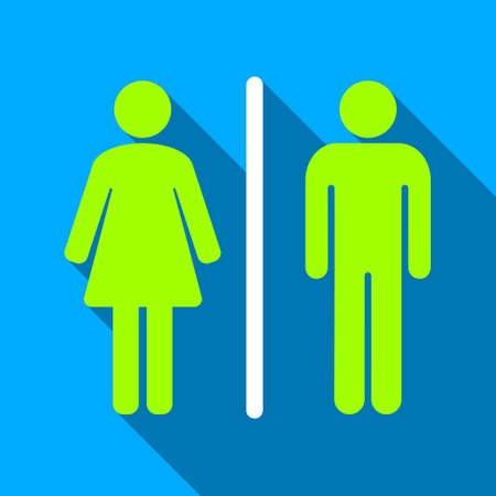 raster sex: Toilets long shadow raster icon. Style is a flat light symbol with rounded angles on a blue square background.
