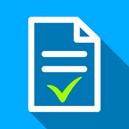 indent: Valid Document long shadow raster icon. Style is a flat light symbol with rounded angles on a blue square background.
