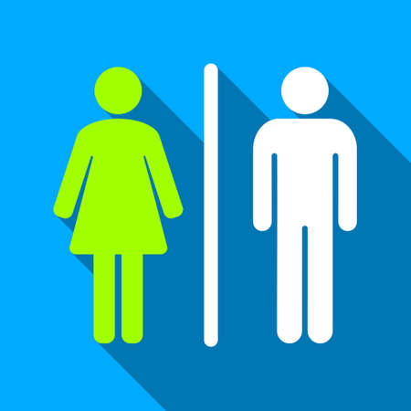 raster sex: WC People Figures long shadow raster icon. Style is a flat light symbol with rounded angles on a blue square background.