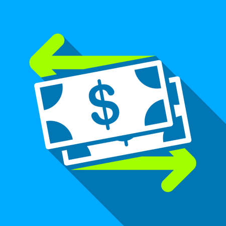 spend: Spend Banknotes long shadow vector icon. Style is a flat light symbol with rounded angles on a blue square background.