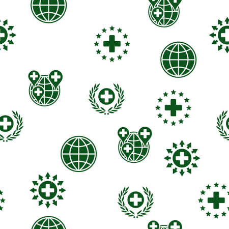 medical distribution: Global Healthcare Seamless glyph repeatable pattern. Style is flat symbols on a white background.