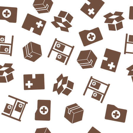 medical distribution: Medical Warehouse Seamless glyph repeatable pattern. Style is flat symbols on a white background.
