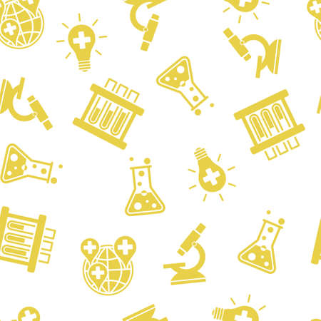 Science Labs Seamless glyph repeatable pattern. Style is flat symbols on a white background. Stock Photo