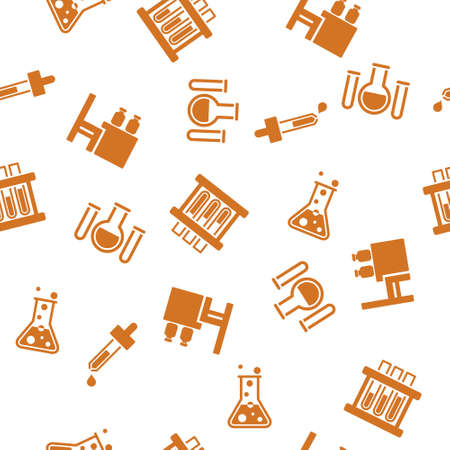 pipet: Chemical Ware Seamless vector repeatable pattern. Style is flat symbols on a white background.