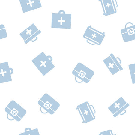 medical case: Medical Case Seamless vector repeatable pattern. Style is flat symbols on a white background. Illustration
