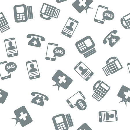 communication devices: Medical Communication Devices Seamless vector repeatable pattern. Style is flat symbols on a white background.