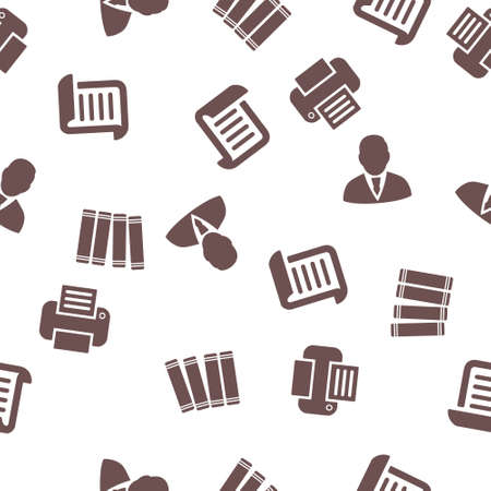 file clerk: Office Job Seamless vector repeatable pattern. Style is flat symbols on a white background.