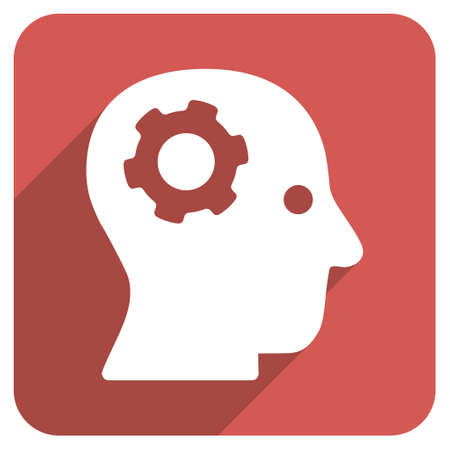 psychic: Intellect Mechanism long shadow glyph icon. Style is a flat symbol on a red rounded square button. Stock Photo