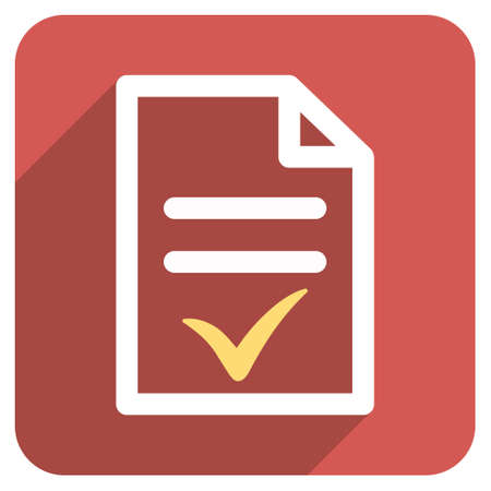 valid: Valid Document long shadow glyph icon. Style is a flat symbol on a red rounded square button.