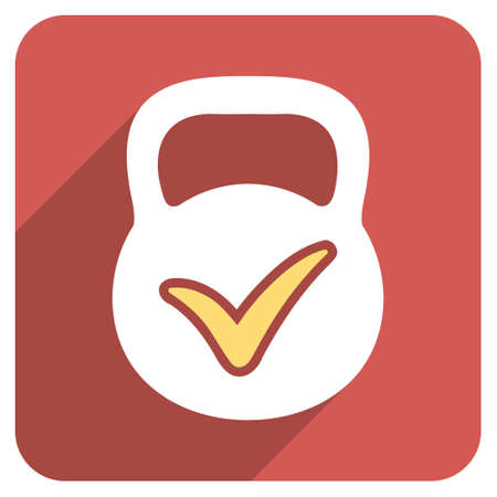 valid: Valid Mass long shadow glyph icon. Style is a flat symbol on a red rounded square button. Stock Photo